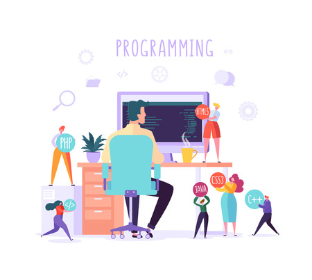 Software and Web Page Programming Concept. Programmer Character Working on Computer with Code on Screen. Freelancer Workplace Coding. Vector illustration