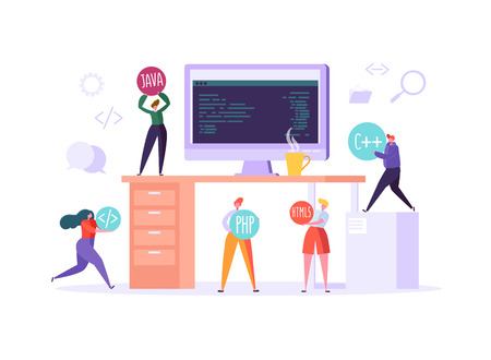 Software and Web Page Programming Concept. Programmer Characters Working on Computer with Code on Screen. Freelancer Workplace Coding. Vector illustration Çizim