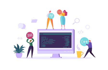 Software and Web Page Programming Concept. Programmer Characters Working on Computer with Code on Screen. Freelancer Workplace Coding. Vector illustration Illustration