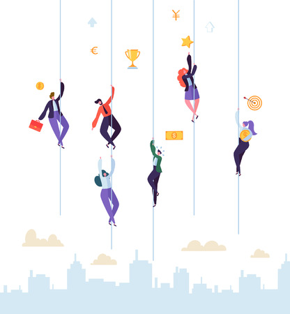 Business People Climbing to Success. Businessman and Businesswoman Characters Trying to get Top. Goal Achievement, Leadership, Motivation Concept. Vector illustration