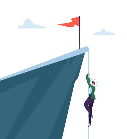 Businessman Climbing on Pick of Mountain. Business Character Trying to get Top. Goal Achievement, Leadership, Motivation Concept. Vector illustration