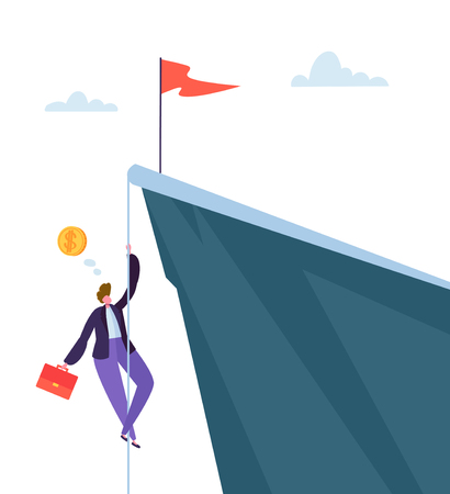 Businessman Climbing on Peak of Mountain. Business Character Trying to get Top. Goal Achievement, Leadership, Motivation Concept. Vector illustration