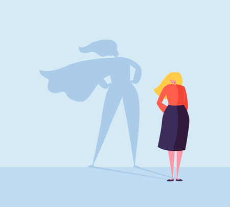 Business Woman with a Super Hero Shadow. Female Character with Cape Silhouette. Businesswoman Leadership Motivation Concept. Vector illustration 스톡 콘텐츠 - 112489652