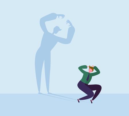 Imprenditore spaventato Paura della propria ombra. Personaggio maschile con sagoma di mostro. Fobia, stress, concetto di panico. Illustrazione vettoriale