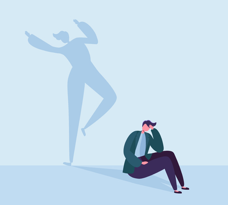 Deprimierter Geschäftsmann mit glücklichem Schatten. Männlicher Charakter mit Silhouette des tanzenden Mannes. Depression, Stress, Frustrationskonzept. Vektor-Illustration