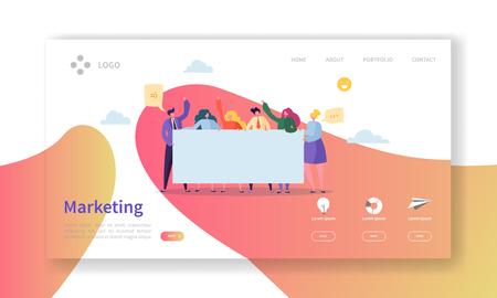 Landingpage des Marketingteams. Teamarbeitskonzept mit flachen Geschäftsleuten, die zusammen Website-Vorlage arbeiten. Einfaches Bearbeiten und Anpassen. Vektor-Illustration Vektorgrafik