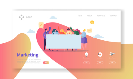 Marketing Team Landing Page. Team Work Concept with Flat Business People Characters Working Together Website Template. Easy Edit and Customize. Vector illustration