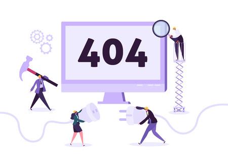 Página web en construcción. Mantenimiento de página 404 con trabajadores de caracteres en problemas de red de reparación uniforme Página web no encontrada. Ilustración vectorial