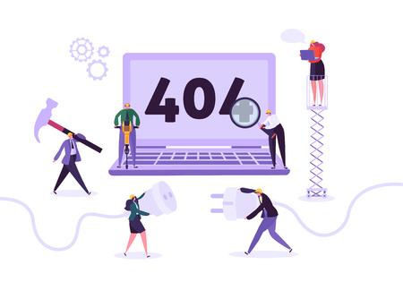 Website im Aufbau. 404-Seitenpflege mit Charakterarbeitern in Uniform, die Netzwerkproblem repariert. Webseite nicht gefunden. Vektor-Illustration Vektorgrafik