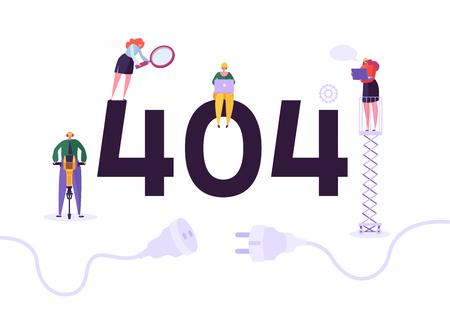 Website im Aufbau. 404-Seitenpflege mit Charakterarbeitern in Uniform, die Netzwerkproblem repariert. Webseite nicht gefunden. Vektor-Illustration