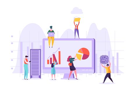 Bedrijfsgegevensanalyseconcept. Marketingstrategie, Analytics met personages die financiële statistieken analyseren op de computer. vector illustratie