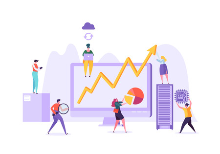 Business Data Analysis Concept. Marketing Strategy, Analytics with People Characters Analyzing Financial Statistics Data Charts on Computer. Vector illustration