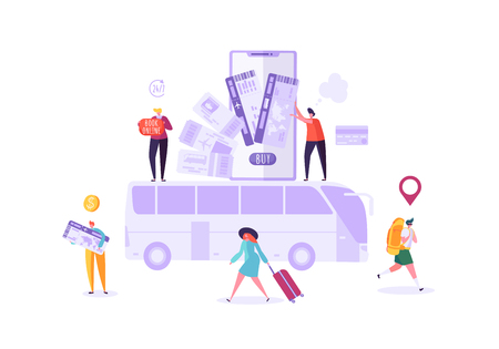 People Booking Bus Tickets Online Using Smartphone. Man and Woman Characters Planning Holiday Travel. Vector illustration Illustration