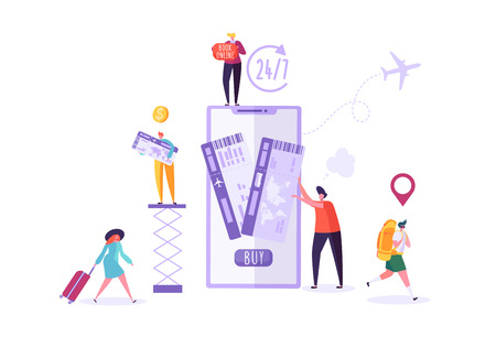 People Booking Air Plane Tickets Online Using Smartphone. Man and Woman Characters Planning Holiday Travel. Vector illustration