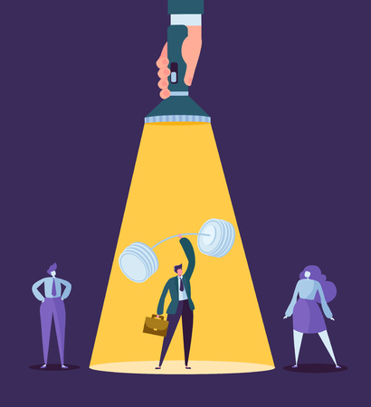 Hand with Flashlight Pointing at Businessman Character with Barbell. Recruitment, Leadership Concept, Human Resources. Vector illustration Illustration