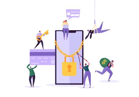 Hacker che ruba password e denaro dallo smartphone. Personaggi di ladro che hackerano il telefono cellulare. Attacco di pesca, frode finanziaria, concetto di virus web. Illustrazione vettoriale