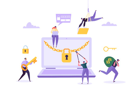 Hacker stiehlt Passwort und Geld von Laptop. Dieb-Charaktere, die Computer hacken. Fischereiangriff, Finanzbetrug, Webvirus-Konzept. Vektor-Illustration Vektorgrafik