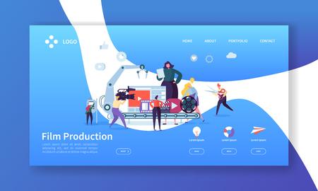 Página de inicio de producción cinematográfica. Concepto de industria de video de TV con personajes de personas planas que hacen una plantilla de sitio web de películas. Fácil de editar y personalizar. Ilustración vectorial