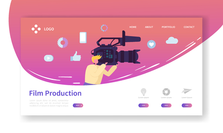 Film Production Landing Page. TV Video Industry Concept with Flat People Character Making Movie Website Template. Easy Edit and Customize. Vector illustration