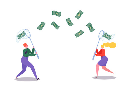 Business Characters Catching Flying Money with a Butterfly Net. Financial Success, Business Opportunity, Wealth Concept. Vector illustration  イラスト・ベクター素材