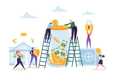 Concepto de ahorro de dinero. Personajes de gente de negocios invirtiendo dinero en cuenta bancaria. Hucha, Caja Fuerte, Banca. Ilustración vectorial