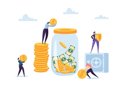 Concept d'économie d'argent. Personnages de gens d'affaires investissant de l'argent sur un compte bancaire. Tirelire, Coffre-fort, Banque. Illustration vectorielle Vecteurs