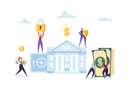 Money Savings Concept. Business People Characters Investing Money on Bank Account. Safe Deposit, Banking, Earnings, Investments. Vector illustration