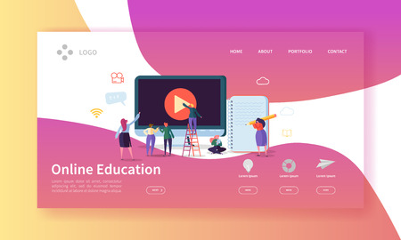 Online Education Landing Page. E-learning Concept with Flat People Characters on Online Courses Website Template. Easy Edit and Customize. Vector illustration 일러스트