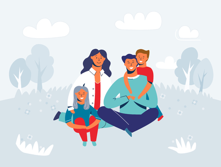 Happy Family enjoying Picnic. Mother, Father and Children Characters smiling and sitting on grass. People in the Park or Forest. Vector Illustration Иллюстрация