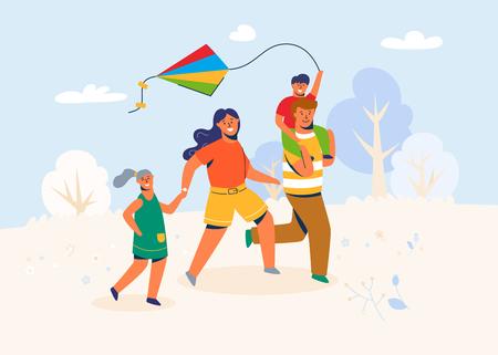 Familia en el parque lanza la cometa. Padre, madre e hijos Caracters corriendo al aire libre, jugando con juguetes de viento en fin de semana, vacaciones, vacaciones. Ilustración vectorial