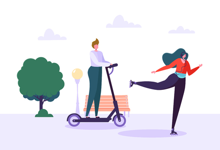 Active People on Eco Transportation. Young Woman Character Roller Skating in the City Park. Man Riding Electric Scooter. Healthy Lifestyle. Vector Illustration