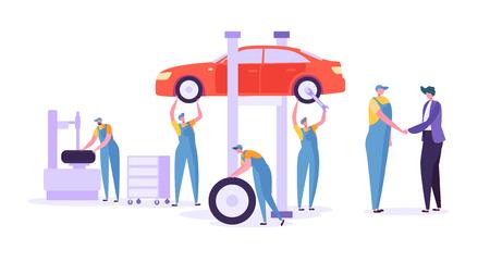 Servizio di riparazione auto. Personaggi meccanici professionisti in uniforme che cambiano pneumatici. Concetto di manutenzione tecnica dell'automobile. Illustrazione vettoriale Vettoriali