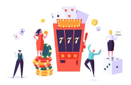 Casino- und Glücksspielkonzept. Personencharaktere, die in Glücksspielen spielen. Mann und Frau spielen Poker, Roulette, Spielautomaten. Vektorillustration