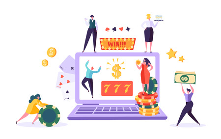 Online Gambling Internet Casino Concept. People Characters with Roulette, Chips, Slots, Dice, Jackpot. Man and Woman Playing Casino using Laptop. Vector Illustration
