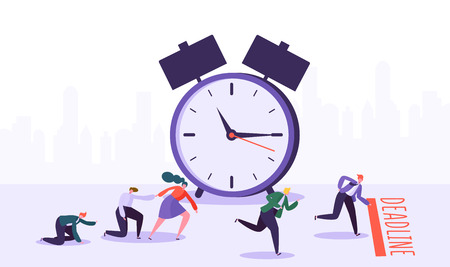 Office deadline concept with business characters. Time management on the road to success. Group of running businessmen to achieve results. Help colleagues to complete project. Vector illustration