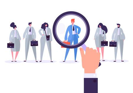 Personajes de gestión de contratación, mejor candidato para el puesto. Recursos humanos en busca de la individualidad. La mano sostiene una lupa y selecciona a una persona individual de un grupo de personas. Ilustración vectorial