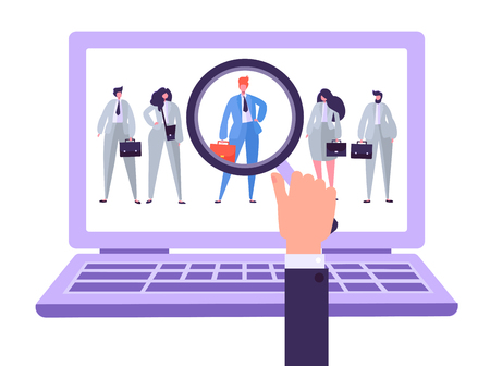 Online recruitment management characters, job candidate. Human resources searching for individuality. Hand with magnifier selects individual person from group of people on Laptop. Vector illustration