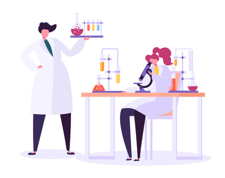 Pharmaceutic Laboratory Research Concept. Scientists Characters Working in Chemistry Lab with Medical Equipment Microscope, Flask, Tube. Vector illustration Stock Vector - 123178854