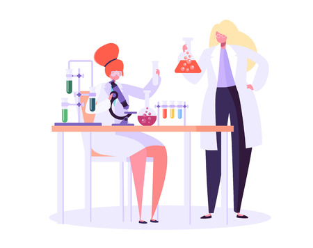 Pharmaceutic Laboratory Research Concept. Scientists Characters Working in Chemistry Lab with Medical Equipment Microscope, Flask, Tube. Vector illustration Stock Vector - 123178855