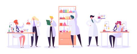 Koncepcja badań laboratorium farmaceutycznego. Naukowcy znaków pracujących w laboratorium chemii z mikroskopem sprzętu medycznego, kolby, probówki. Ilustracja wektorowa