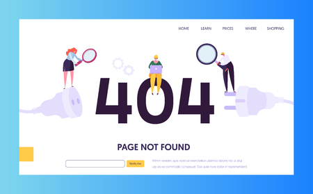 404 Maintenance Error Landing Page Template. Page Not Found Under Construction Concept with Characters Workers Fixing Internet Problem for Website. Vector illustration Иллюстрация