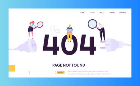 Plantilla de página de destino de error de mantenimiento 404. Página no encontrada en concepto de construcción con trabajadores de caracteres que solucionan el problema de Internet para el sitio web. Ilustración vectorial Ilustración de vector