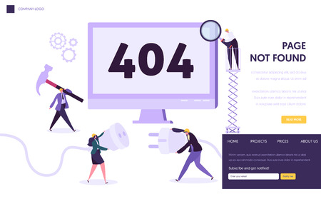 Plantilla de página de destino de error de mantenimiento 404. Página no encontrada en concepto de construcción con trabajadores de caracteres que solucionan el problema de Internet para el sitio web. Ilustración vectorial