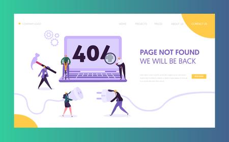 Modello di pagina di destinazione dell'errore di manutenzione 404. Pagina non trovata in costruzione concetto con caratteri lavoratori che risolvono il problema di Internet per il sito web. Illustrazione vettoriale