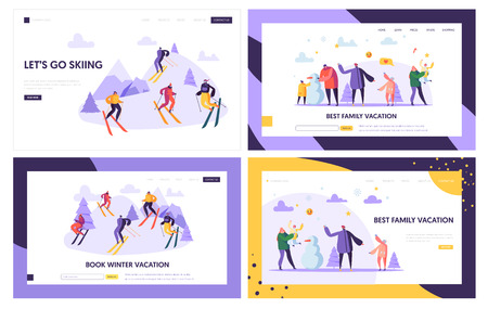 Winter Vacation Landing Page Template. Active People Characters on Ski Resort, Family Holidays, Winter Sports for Web Page or Website. Vector illustration