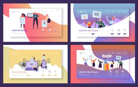 Insieme di modelli di pagina di destinazione delle elezioni di voto. Persone d'affari caratteri voto su Internet, concetto di riunione politica per sito Web o pagina Web. Illustrazione vettoriale Vettoriali