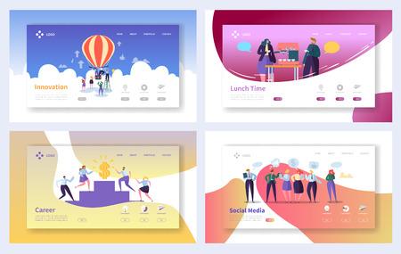 Insieme di modelli di pagina di destinazione aziendale. Caratteri di persone d'affari Social Media, innovazione, concetto di crescita di carriera per sito Web o pagina Web. Illustrazione vettoriale