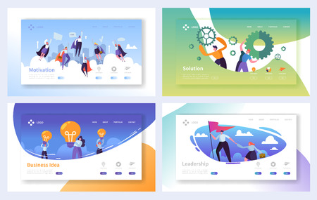 Business Landing Page Template Set. Business People Characters Team Working, Solution, Leadership, Creative Idea Concept for Website or Web Page. Vector illustration