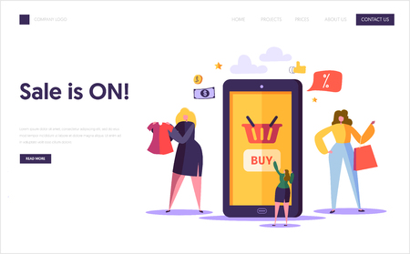 Online Shopping Landing Page Template. Characters Buying Clothing in Internet Store Using Smartphone, E-commerce Concept for Website aor Web Page. Vector illustration Illustration