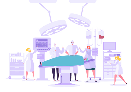 Medical hospital surgery operation in operating room. Doctor and Nurse Characters performing surgical operation on Patient. Vector illustration